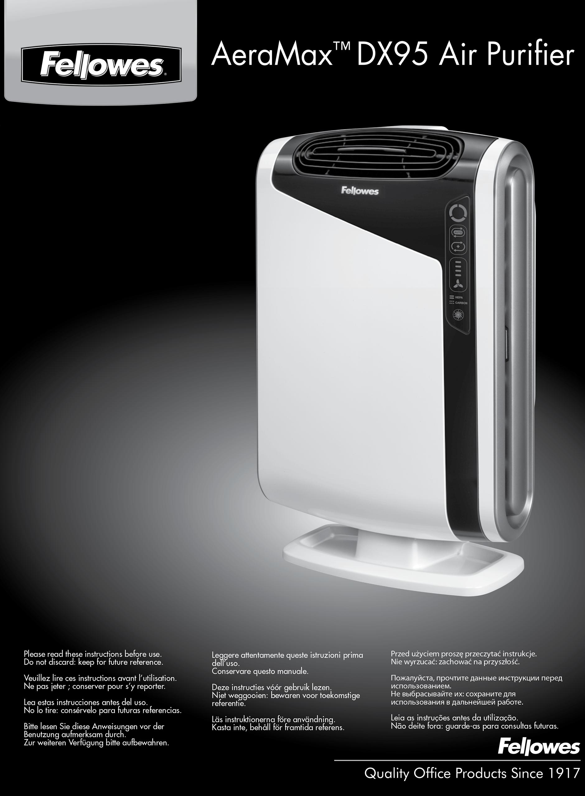 Purificador de aire AeraMax DX95 Fellowes. COVID-19. Virus H1N1. Alergias, anteponen, filtros HEPA, pequeño y portátil.